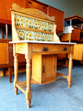 Late Victorian Pine Wash Stand with Tiled Back & Marble Top - erfmann-vintage
