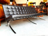 Contemporary Mies Van Der Rohe's Barcelona Chair Style Black Leather Chrome 3 Seater - erfmann-vintage