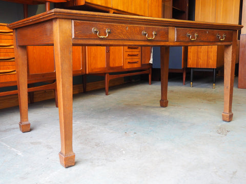 ... Edwardian Solid Oak Desk With Leather Inlay And 2 Drawers ...