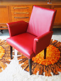 Retro Small Red Vinyl Leatherette Occasional Armchair - erfmann-vintage