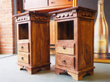 Two Contemporary Solid Oak Bedside Cabinets Very Well Made - erfmann-vintage