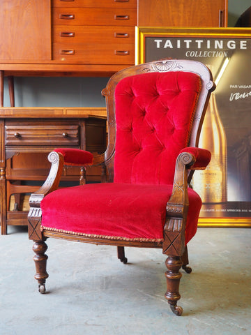 Victorian Occasional Chair Red Velvet Button Back - erfmann-vintage
