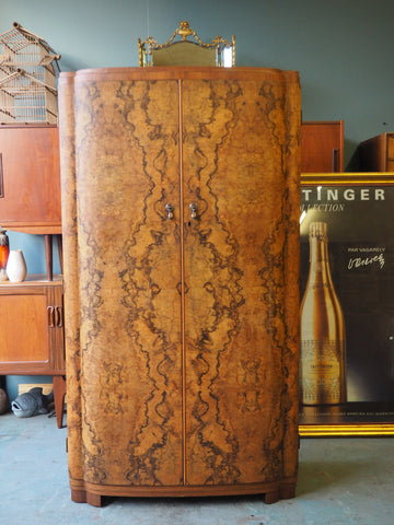 Very elegant small Art Deco Walnut Wardrobe Bow Fronted - erfmann-vintage
