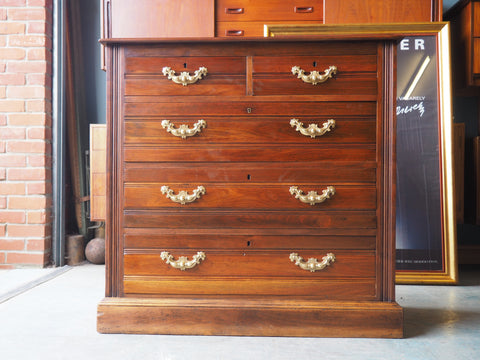 Edwardian Chest of Drawers Large Solid Walnut Brass Handles - erfmann-vintage