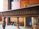 Jacobean Style Edwardian Solid Oak Table with Ornately Turned Chunky Legs - erfmann-vintage