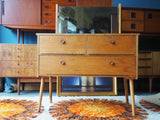 Vintage Mid Century Pale Teak Dressing Table with Tilting Mirror - erfmann-vintage