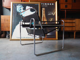 Vintage Mid Century Italian Leather & Chrome Knoll Copy of a Wassily Chair - erfmann-vintage