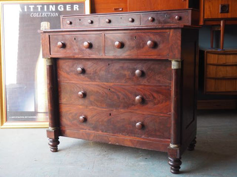 Victorian Flame Mahogany Chest of Drawers Ornate Heavy - erfmann-vintage