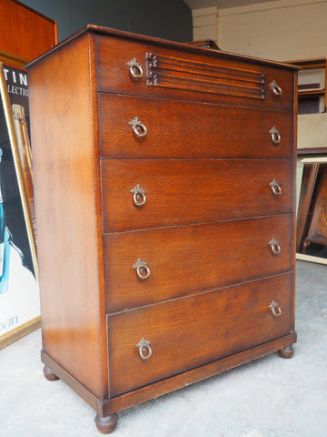 Vintage BUTILUX Solid Oak Linenfold Chest of Drawers - erfmann-vintage