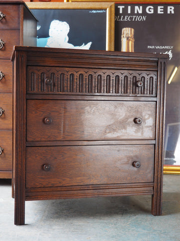 Mid Century Small Solid Oak Chest of Drawers - erfmann-vintage