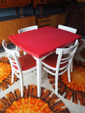 Retro Formica Topped Ext Dining Table & 4 White & Red Vinyl Chairs - erfmann-vintage