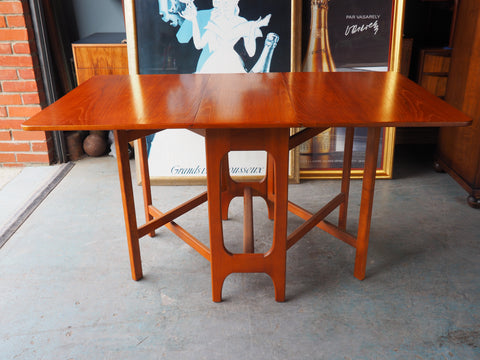 Mid Century Vintage Rectangle Gate-Leg Dining Table Teak - erfmann-vintage