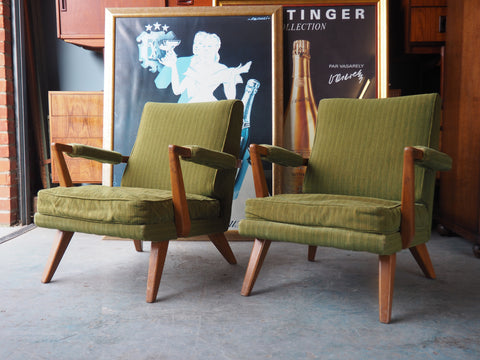 2 x Vintage Retro E-Gomme for G-Plan Green Armchairs - erfmann-vintage