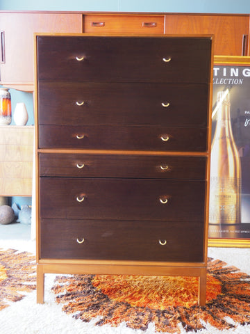 Mid Century STAG Chest on chest style chest of six drawers - erfmann-vintage