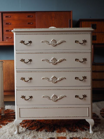 Late 20th C. Ornate Baroque Louis Style White Chest of Drawers Bedroom - erfmann-vintage