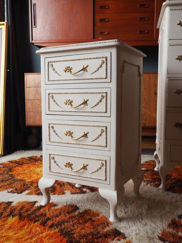 Late 20th C. White Ornate Baroque Louis Style Bedside Cabinet - erfmann-vintage