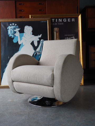 Retro Modern Art Deco Style Pale Grey Swivel Armchair - erfmann-vintage