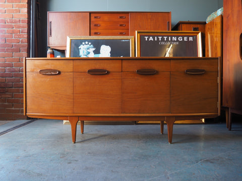 Mid Century Teak Sideboard with Drawers & Cupboards - erfmann-vintage