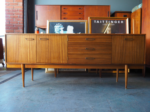 Mid Century Walnut Veneer Long Sideboard Drawers Cupboards - erfmann-vintage