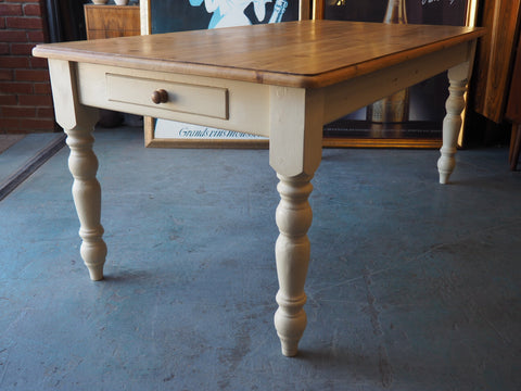 Shabby Chic Rustic Pine Kitchen/Dining Table w/Painted Legs & Drawer - erfmann-vintage