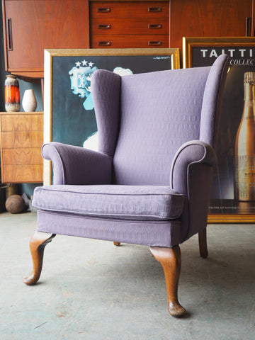Mid Century Parker Knoll Wingback Armchair in Grey - erfmann-vintage