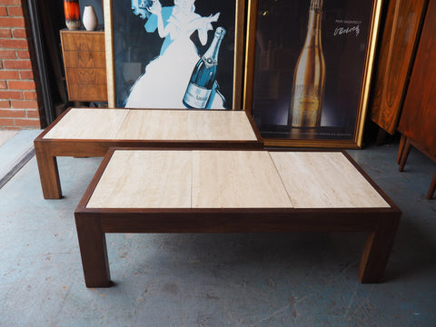 Vintage Retro Handmade Walnut Coffee Table with Marble Tiled Top - erfmann-vintage
