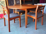 Mid Century Danish Oval Extendable Teak Dining Table & Four Chairs - erfmann-vintage