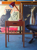 Vintage Retro Small Lamp Table in Teak with Drawer & Magazine Shelf - erfmann-vintage