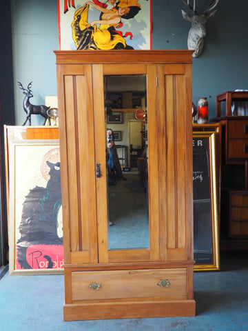 Late Victorian Satin Walnut Wardrobe with Full Length Mirror & Drawer - erfmann-vintage