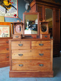 Late Victorian Satin Walnut Chest of Drawers/Dressing Table with Mirror - erfmann-vintage