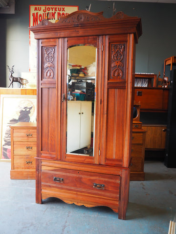Ornate Late Victorian Satin Walnut Wardrobe with Mirror & Drawer - erfmann-vintage