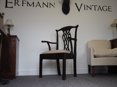 Early 19th Century Oak Elbow Occasional Chair Reupholstered - erfmann-vintage