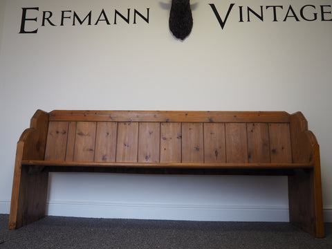 Victorian Late 19th Century Pine Pew Kitchen Bench - erfmann-vintage
