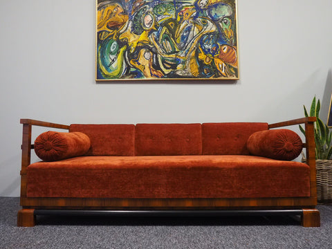 Art Deco Three Seater Sofa Bed in Walnut & with Burnt Orange Fabric - erfmann-vintage