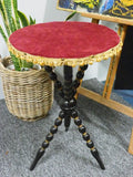 Antique Gypsy Table Early 20th C With Red Velvet Top - erfmann-vintage