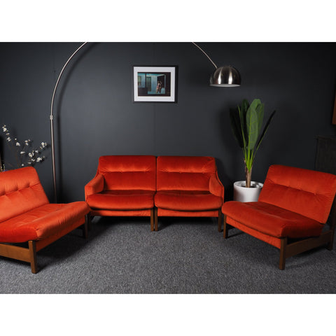 Mid Century Vintage Bright Orange Modular Sofa, 2-3-4 seater