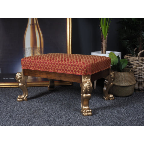 Handmade Footstool Antique Baroque Style Ornate Gold Legs & Feet