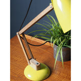 Mid Century Vintage Habitat Yellow Anglepoised Style Lamp with Wooden Arm PAT Tested