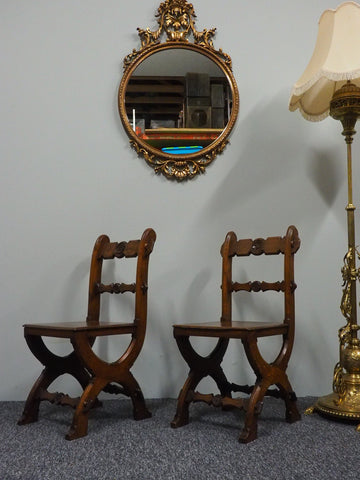 Antique Pugin Style Gothic Revival Oak Occasional Chairs - erfmann-vintage