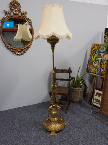 Ornate Antique Victorian Telescopic Brass Standing Lamp with Shade - erfmann-vintage