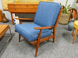 Mid Century Danish Scandart Vintage Retro Teak Lounge Easy Arm Chair - erfmann-vintage