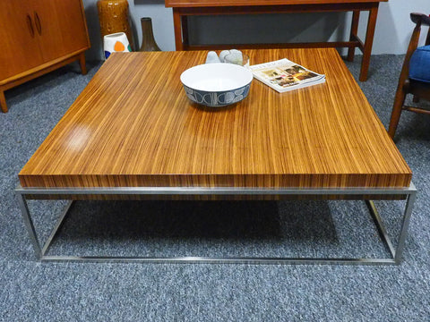 Mid Century Large Coffee Table Merrow & Assoc. Style Rosewood & Chrome - erfmann-vintage