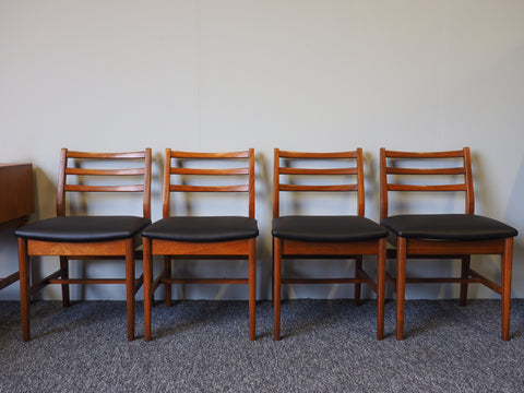 Mid Century Danish Dining Chairs Set of Four Vintage Retro Classic Design - erfmann-vintage