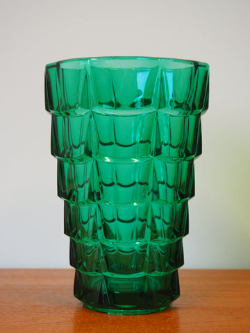Mid Century Retro Green Glass Folding Waterfall Vase - erfmann-vintage
