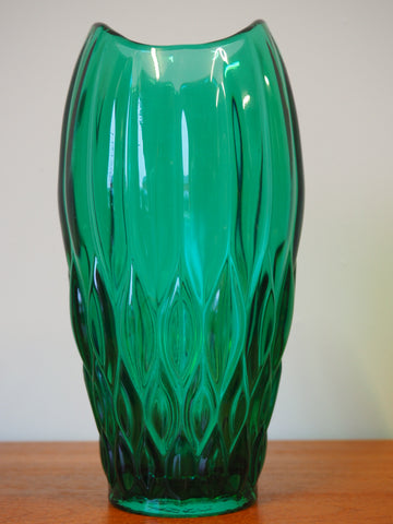 Mid Century Vintage Retro Green Glass Tulip Mouthed Vase With Diamond/Scale Pattern - erfmann-vintage