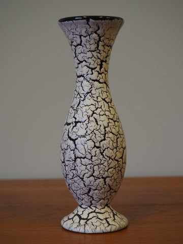 Mid Century Single Stem 1960'S Jasba Gourd Shaped Crackle Glaze Vase - erfmann-vintage