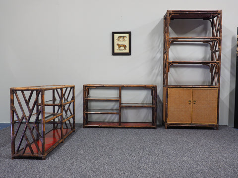 Mid Century Rare Bamboo, Rattan and Cane Three Piece Shelving Set Suberb Quality - erfmann-vintage