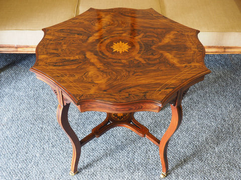 Edwardian Octagon Shaped Occasional Table Inlaid Marquetry Detail - erfmann-vintage