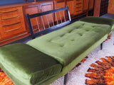 Retro 3 Piece Suite 2 x Armchairs 1 Drop-arm Sofa in Green Velvet - erfmann-vintage