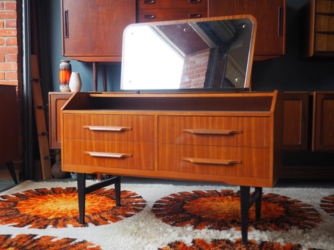 Vintage Retro Teak Veneer Dressing Table with Mirror - erfmann-vintage